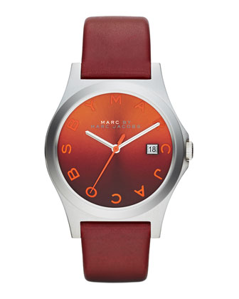 36mm The Slim Watch with Leather Band, Red