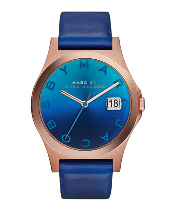 36mm The Slim Watch with Leather Band, Blue