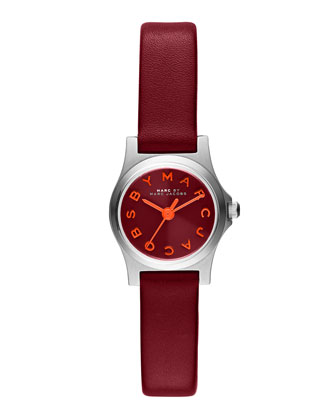 21mm Henry Analog Watch with Leather Strap, Red