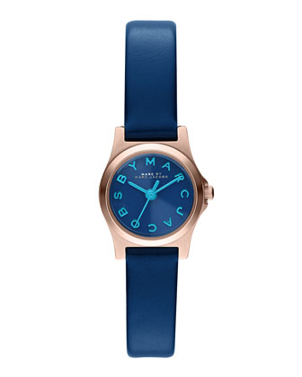 21mm Henry Analog Watch with Leather Strap, Blue