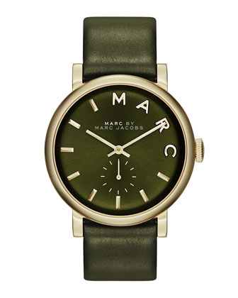 Baker Analog Watch with Leather Strap, Golden/Olive