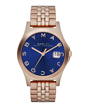 36mm The Slim Rose Golden Watch with Bracelet, Blue Dial