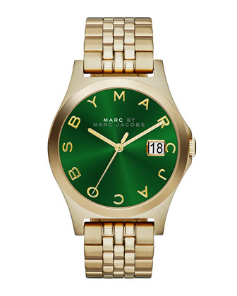 36mm The Slim Golden Watch with Bracelet, Green Dial