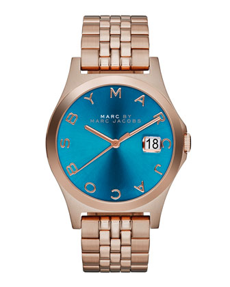 36mm The Slim Rose Golden Watch with Bracelet, Turquoise Dial