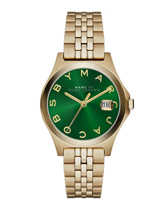 30mm The Slim Golden Watch with Bracelet, Green Dial