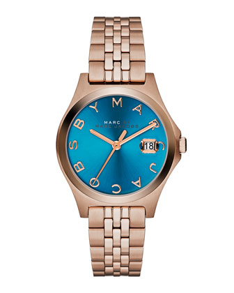 30mm The Slim Rose Golden Watch with Bracelet, Turquoise Dial