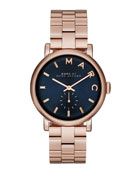 Baker Rose Golden Analog Watch with Bracelet, Navy Dial