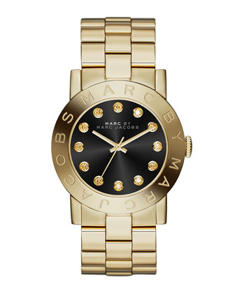 36mm Amy Crystal Analog Watch with Bracelet Strap, Golden/Black