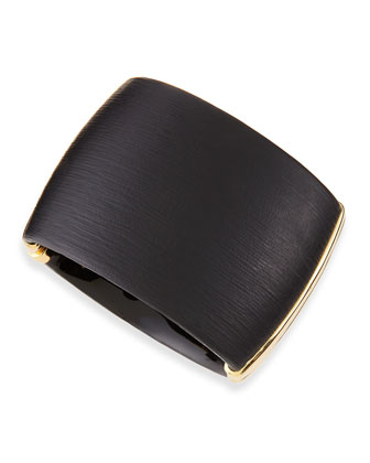 Wide Liquid Metal Lucite Hinge Bracelet (Made to Order), Black