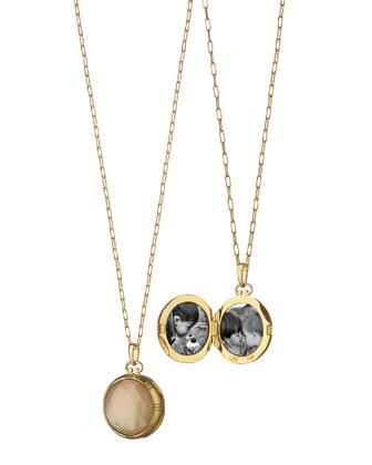 18k Cognac Crystal Mother-of-Pearl Locket Necklace