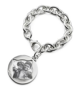 Round Charm Photo Sterling Silver Bracelet