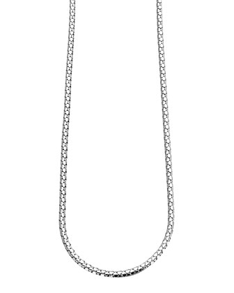 Dot Silver Small Chain Necklace with Pusher Clasp
