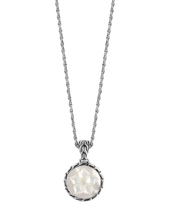 Classic Chain Mother-of-Pearl Flower Round Pendant Necklace