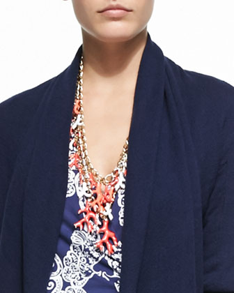 Hayden Open Cardigan, Good Reef Coral Necklace & Yvette Printed Faux-Wrap ...