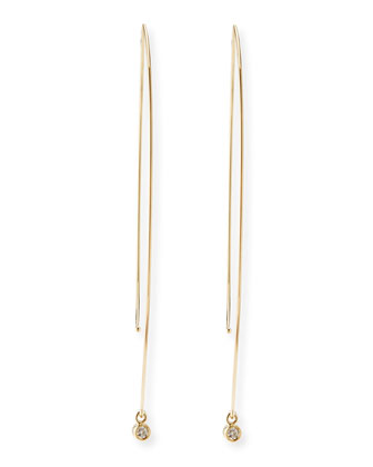 14k Gold Marquise Drop Earrings with Diamonds