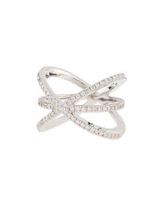 18K White Gold Diamond Double-Crisscross Ring