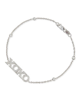 18k White Gold Diamond XOXO Charm Bracelet
