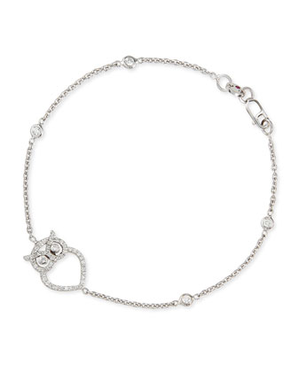 18k White Gold Diamond Owl Charm Bracelet