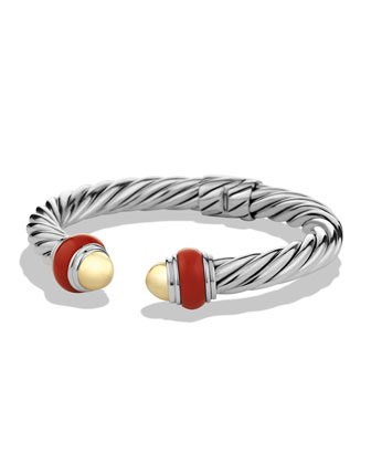 Cable Classics Bracelet with Gold Domes and Carnelian