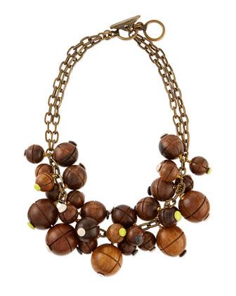 Wooden Bauble Bib Necklace