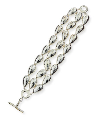 Hammered Silver Beaded Bracelet