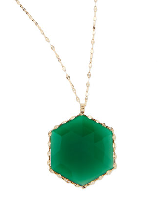14k Envy Green Onyx Pendant Necklace