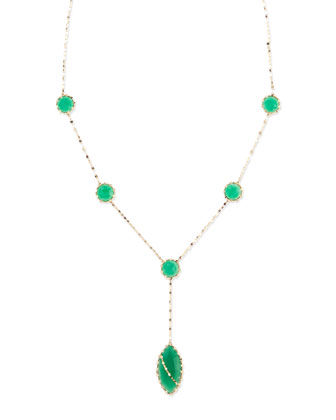 Mega Envy Green Onyx Y-Drop Necklace