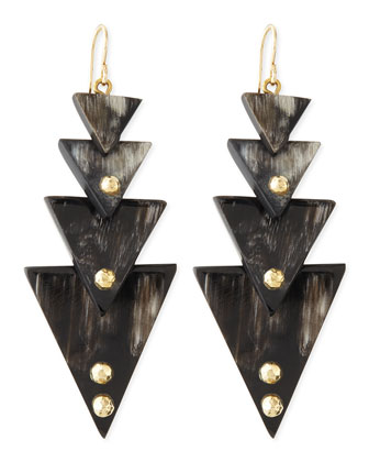 Nyana Tiered Earrings, Dark Horn
