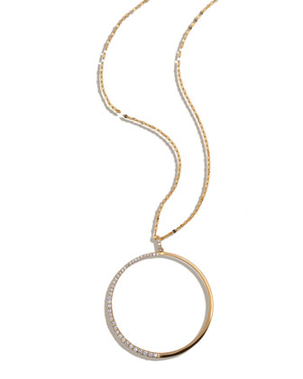 Femme Large Circle Necklace with Diamonds
