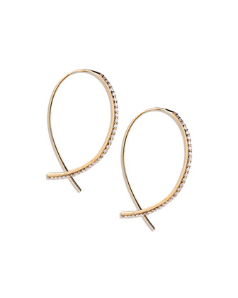 Fatale Small Upside Down Hoops with Diamonds