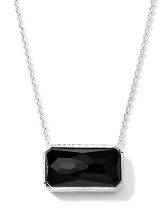Rectangle Black Onyx Pendant Necklace