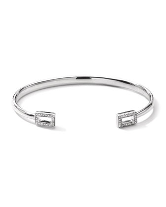 Stella Rectangle Huggie Bracelet with Pave Diamonds