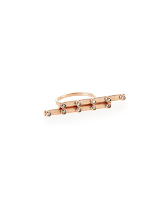 Rose Gold Rosary Bar Ring with Diamonds