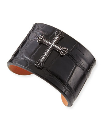 Black Crown the Cross Alligator Cuff with Diamonds, Black