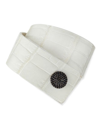 White Alligator Tuxedo Cuff with Black Diamonds