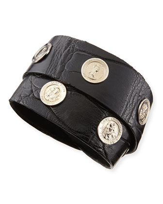 Saintly Studs Alligator Wrap Bracelet, Black