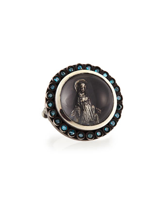 Modern Mary Ring with Blue Diamonds