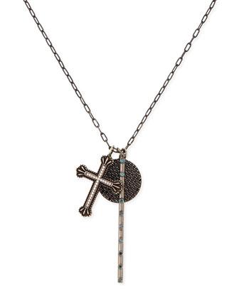 Cross, Rosary Bar & Full Moon Pave Diamond Necklace