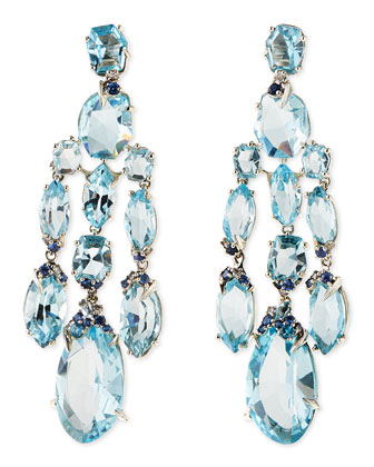 Blue Topaz/Quartz/Sapphire & Diamond Chandelier Earrings