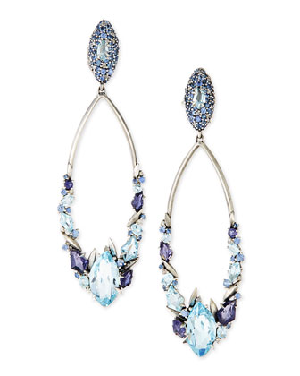 Blue Stones & Diamonds Marquise Drop Earrings