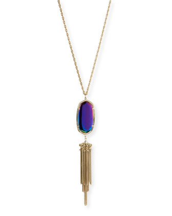 Rayne Pendant Necklace, Black Iridescent