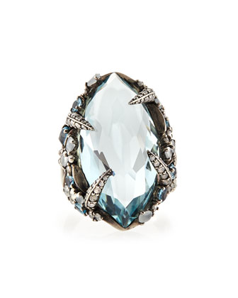 Aqua Quartz, London Blue Topaz & Diamond Ring
