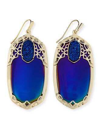 Deva Iridescent AB Plated Black Opaque Glass Earrings