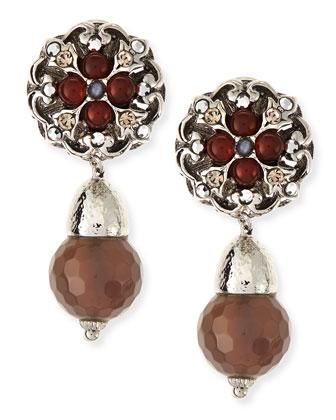 Carnelian & Gray Agate Clip-On Earrings
