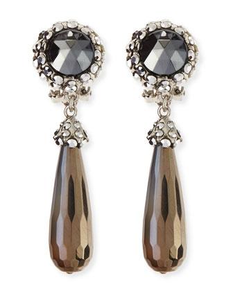 Silvery Hematite-Drop Clip-On Earrings