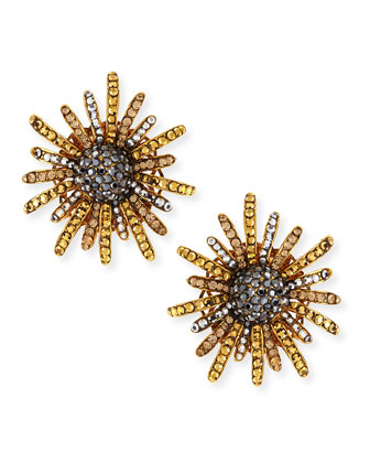 Golden Flower Burst Crystal Clip-On Earrings