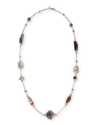Long Necklace with Gray Stones