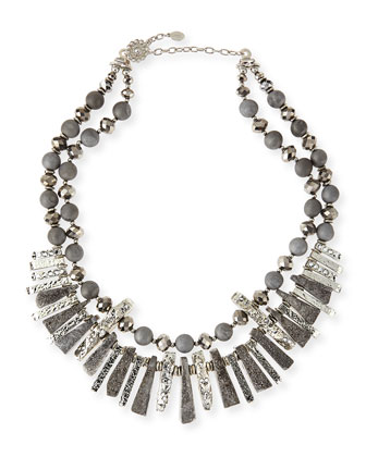 Silvery & Gray Beaded Collar Necklace