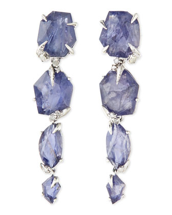 Iolite Drop Earrings with Diamonds