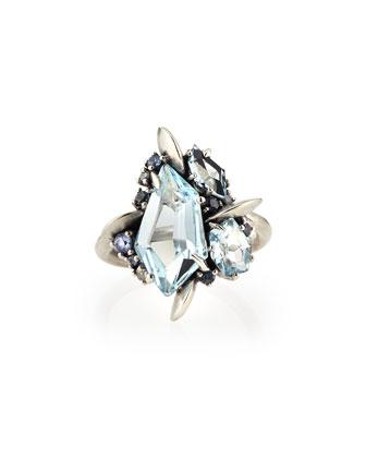 Blue Topaz/Quartz/Sapphire & Diamond Ring
